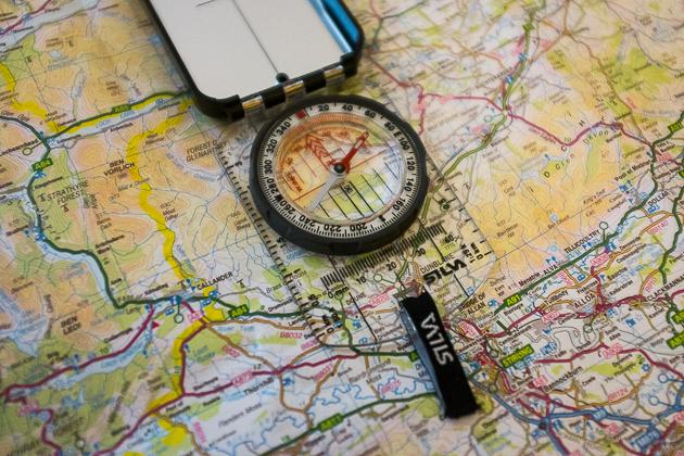 karte kompass Orientierung mit Kompass Teil 1:Marschkompasszahl   karte kompass